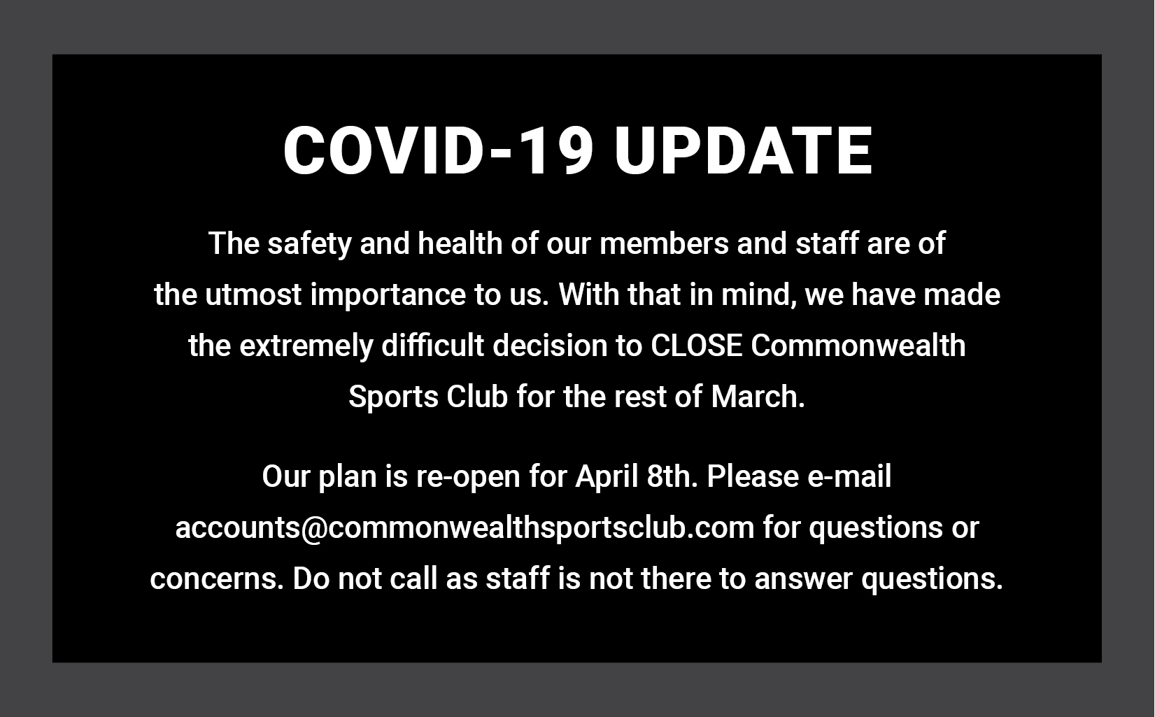 COVID-19 update: CSC is closed until April 7th. We will reopen on April 8th.